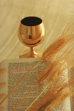 Receiving Communion for the first time is often commemorated with gifts decorated with symbols of wheat and chalices.
