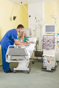 Dialysis can take place in the hospital or with a home dialysis machine.