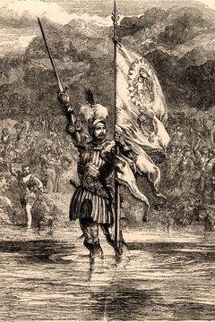 Vasco Núñez de Balboa claiming the Pacific Ocean for Spain.