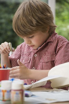 Crafts of all types keep 5-year-old boys happy and engaged.