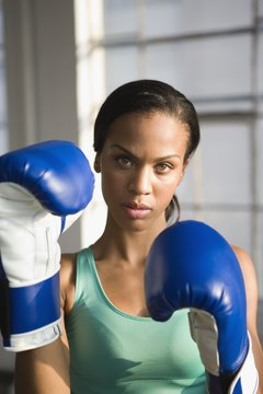 Get ready for kickboxing with wraps and hook-and-loop gloves.