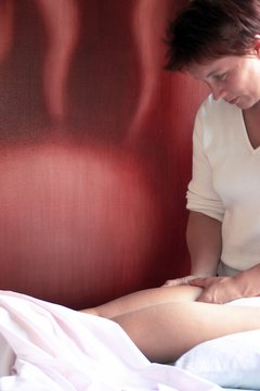 Gentle massage can often alleviate a calf cramp.