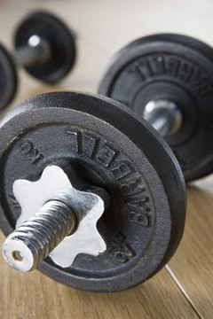 A dumbbell is most commonly used for single leg deadlift row.