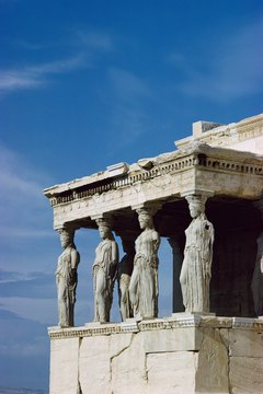 Greek architecture depicts statues of the gods and the magnificence of their ancient temples.