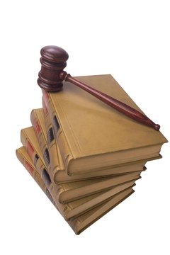 Gavel on stack of legal books