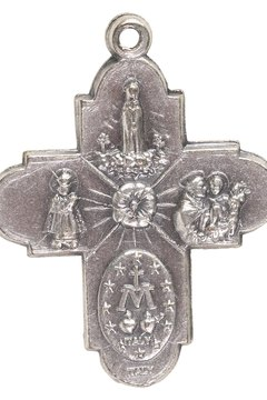 The four-way medal has another, smaller medal on each end of the cross.