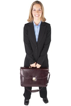 Businesswoman With Brown Leather Briefcase