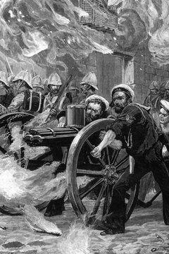 The British Naval Brigade used a Gatling gun to clear the streets of Alexandria in the war with Egypt in1882.