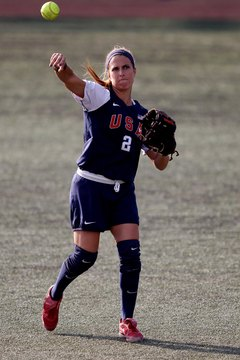 USA Softball's Kelly Grieve throws against Argentina during the XVI Pan American Games in 2011.