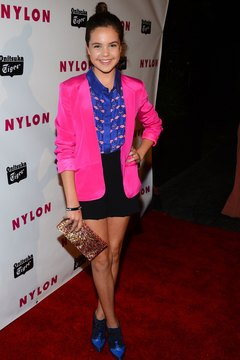 Actress Haley Madison mixes separates for a Los Angeles appearance.