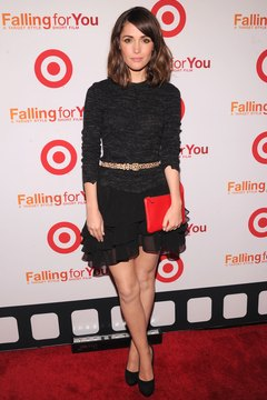 Actress Rose Byrne rocks a black lace skirt with a simple black top at a New York Target event.
