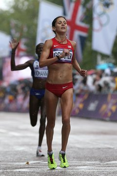 World champion runner Kara Goucher includes strength exercises in her daily training.
