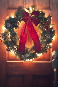 Wreaths can be seen on the doors of those celebrating Christmas.