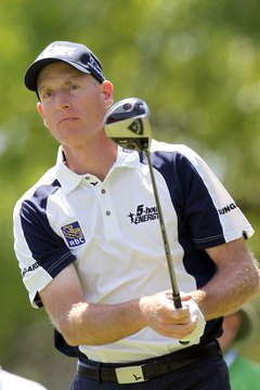 "Jim ""The Grinder"" Furyk plays a shot at the 2012 Transitions Championship."