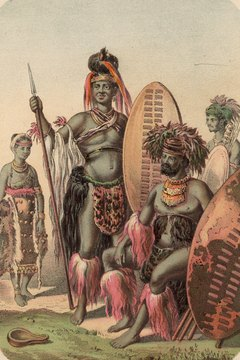 Zulu warriors are depicted here in traditional attire.