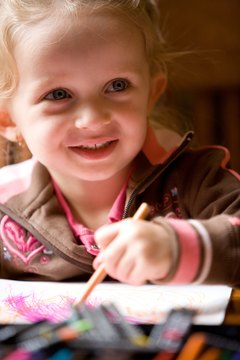 Patience and repetition is helpful in teaching young children to draw.