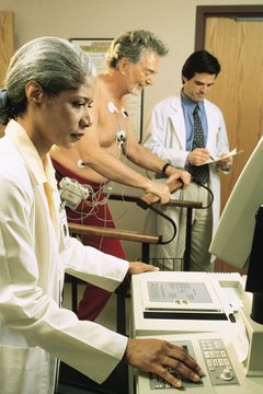 EKG technicians use treadmill tests to monitor cardiac changes during exercise.
