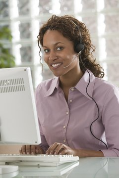 Businesswoman with a telephone headset