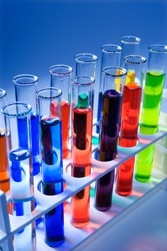 Rack of test tubes with colorful liquids