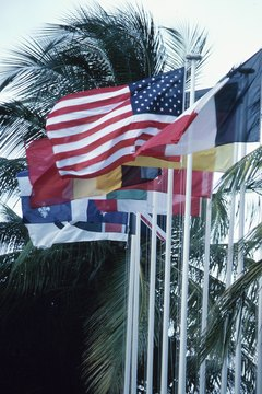 National flags flying on Martinique