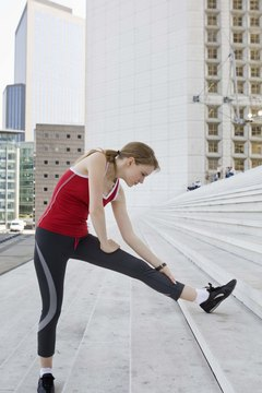 Stretch before doing sideways stair exercises.