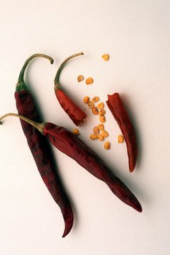Hot peppers can be found fresh or dried.
