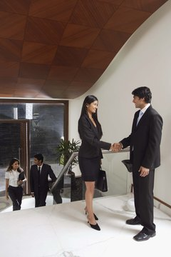Businesspeople in entrance