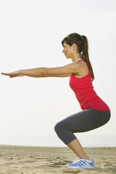 Squats work your quadriceps, hamstrings, glutes, calves and core.