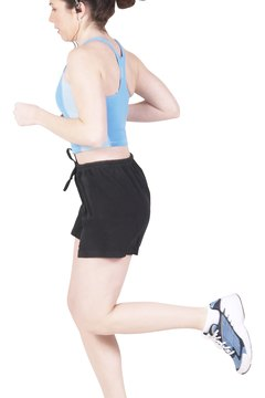 Standing tall while running strengthens your core muscles.