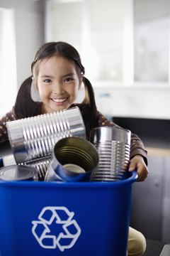 Environmental classroom decorations encourage kids to reuse and recycle.