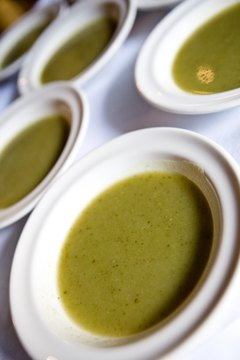 Protein-rich split pea soup can be part of a healthy lunch.