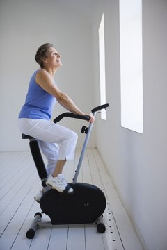 Regular exercise on a stationary bike helps reduce blood pressure.