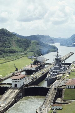 The Panama Canal provides a faster route for commercial ships between the Atlantic and Pacific Oceans.