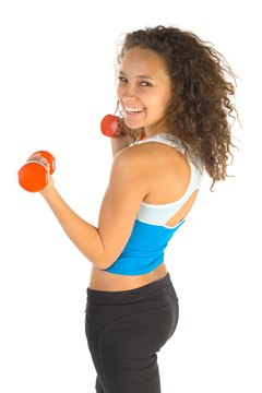 Many people use small dumbbells to increase the resistance in their aerobics classes.