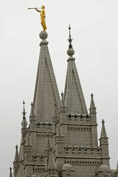 The Salt Lake City Temple in Utah is the center of Mormonism in America.