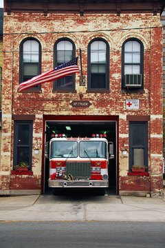 Fire engine parked in firehouse