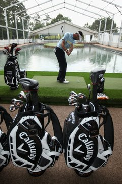 Alvaro Quiros tries out some Callaway irons at the TPC Sawgrass club in 2010.