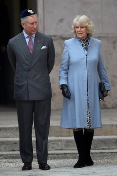 Prince Charles and the Duchess of Cornwall at a Jewish cemetery