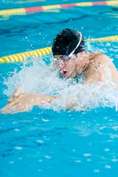 A swimmer performs the undulating style of breaststroke.
