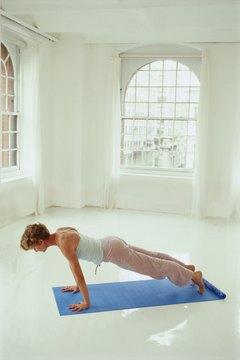 Plank pose can help tone the arms.
