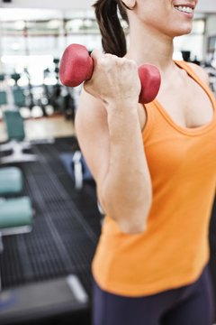 Dumbbells can easily be replaced with various household items of similar weight.