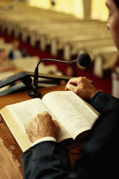 A Pentecostal minister preaches Bible based sermons.
