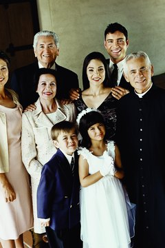 Family photographs are a common tradition of First Communion.