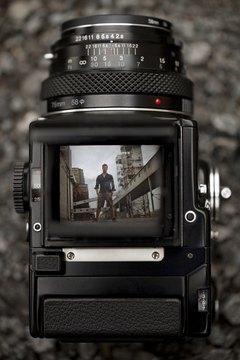 Medium format camera in action