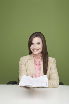 Businesswoman holding document