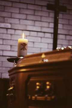 A casket at a Christian funeral.
