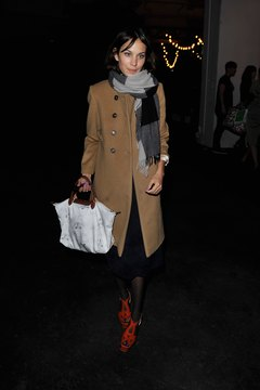 Alexa Chung color-blocks all the neutrals: black, white, tan, brown and gray.