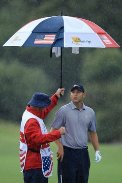 Rain can make playing golf very difficult.