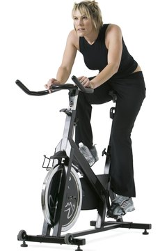 Riding an exercise bike is a great workout.