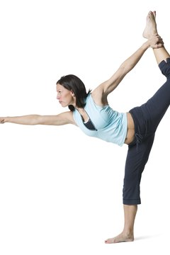 The Standing Bow pose strengthens the upper thighs and hips.